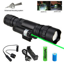 Tactical Zoom LED Flashlight Torch & Red Laser Dot Combo For Picatinny 11MM-20MM