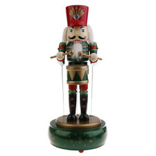 Wooden Drummer Nutcracker Music Box Clockwork Toy Christmas Ornament Green