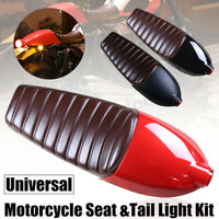 Universal Motorcycle Cafe Racer Seat Cover And Tail Light For Honda For Suzuki