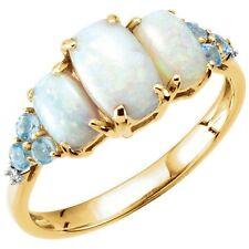 Genuine Opal, Swiss Blue Topaz Gems & Accent Diamonds Ring Solid 14K Yellow Gold