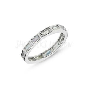 RHODIUM PLATED 925 SILVER ETERNITY RING - 3mm BAGUETTE CUT CUBIC ZIRCONIA
