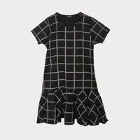 Black Grey Check Tunic Mini Dress Short Sleeve Frill Hem Size 16 18 20 22 24 26