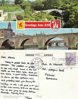 1983 DUAL VIEWS OF AYR AYRSHIRE SCOTLAND COLOUR POSTCARD