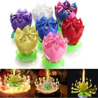 Romantic Musical Lotus Flower Rotating Happy Birthday Party Gift 14 Candle Light
