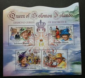Solomon Islands Diamond Jubilee Queen Elizabeth II 2012 Royal (ms MNH *odd shape