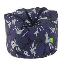Large Adult Size Urban Camo Camouflage Blue Bean Bag Gaming Seat With Beans