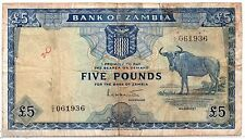 ~ ZAMBIA  Five Pounds (£5) Banknote - P3a (1964) ~