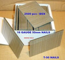 NAIL GUN NAILS, T-50, 16 GAUGE, 2500pc / BOX - NEW