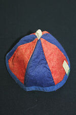 VERY RARE VINTAGE DEADSTOCK 1930'S BOYS COTTON-WOOL RED & BLUE FELT BEANIE SZ L