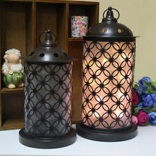 Vintage Ornate Lantern Black Metal Table Lamp Indoor Garden Home Lighting Light