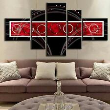 Abstract Wall Art Red Black Circle Modern Canvas Print Painting Home Decor 5 PCS