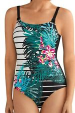 NEW Amoena Mexico Pocketed Swimsuit in Black/Multi Flattering Stylish B120372