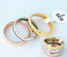 Set Dreier Ring Edelstahl Damen Ringe Tricolor Rose Silber Gold vg. glänzend