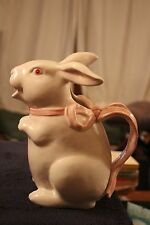 FITZ AND FLOYD WHITE RABBIT PINK BOWTIE  9 INCH PITCHER CENTERPIECE 1983 RETIRED
