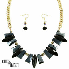 CLEARANCE HIGH END BLACK GLASS CRYSTAL CHUNKY NECKLACE JEWELRY SET