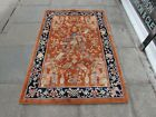 Vintage Hand Made Art Deco Chinese Oriental Terracotta Red Wool Rug 185x122cm
