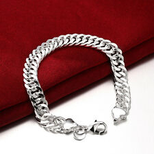 925 Sterling Silver Layered Classic 10MM Solid Chain Bracelet