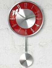 Pendolo OROLOGIO da parete caratteri numerici Rosso / Argento faccia CUCINA Office Home Decor