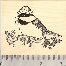 Christmas Chickadee Rubber Stamp, Black Capped Bird in Santa Hat  L5314 WM