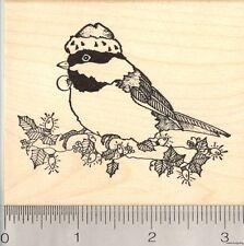 Christmas Chickadee Rubber Stamp, Black Capped Bird in Santa Hat  L5314 WM