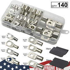 140pcs Car Audio Copper Wire Ring Terminal Battery Welding Connector Kit