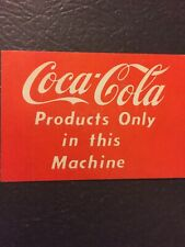"""10.5/""""x 6/""""  PEPSI white /""""SERVED IN CANS/"""" decal SODA POP VENDING MACHINE COOLER"""