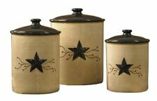 "STAR VINE 3 PC CANISTER SET W/ BLACK STAR CERAMIC LG 9"", M 8"", SM 6.5"" APPROX TA"