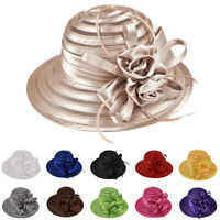 New Women Lady Kentucky Derby Church Bridal Wedding Hat Wide Brim Dress Hats