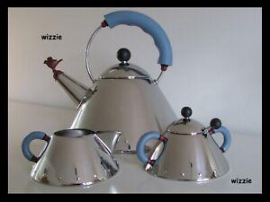 ALESSI : Whistling Tea Kettle with sugar bowl & milk jug ( MICHAEL GRAVES )