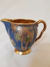 COLOURFUL CARLTON WARE  BLUE AND GOLD CREAM/MILK JUG WITH SKETCHING BIRD DESIGN