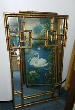 70's LaBarge 47lb Iron Bamboo Chippendale Wall Mirror Asian Hollywood Regency