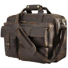 """Men Real Leather 16"""" Laptop Handbag Briefcase Shoulder Messenger Bag Attache Bag"""