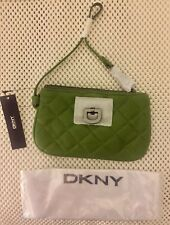 NWT DKNY Soft Quilted Nappa Leather Wristlet/Change Purse, Zip Close, Green
