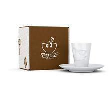 Fiftyeight TV Espresso Mugs  Becher mit Henkel verschmitzt Unterteller weiß NEU