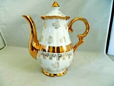 STERLING CHINA TEAPOT WHITE WITH GOLD  HANDLE SPOUT,DECORATIONS, VINTAGE