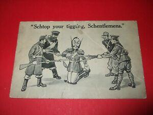 WW1 BAMFORTH WAR CARTOON COMIC postcard ANTI KAISER allies SCHTOP TIGGLING