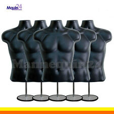 5 Male Torso Mannequin Forms -Black w/ 5 Stands + 5 Hanging Hooks Men Clothings