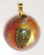 Gold Tone Owl Blood Moon Resin Orgone Energy Pendant Copper Black Tourmaline