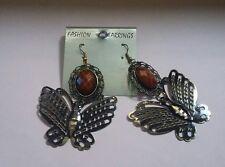 "Fashion Earrings Golden-Black Coloured Butterfly 3""x2"""