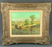 Antique Signed Duchamp Oil on Wood Board Church Mountain Landscape Painting