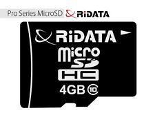Memoria MICRO SD 4GB RIDATA Classe 10 cellulari smartphone macchine fotografiche