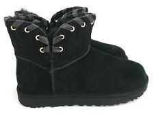 Ugg Aidah Mini Leather Lacing Classic Luxe Western Black Women's Boots Size 7