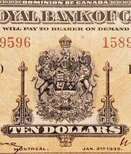 1935 Royal Bank of Canada $10. Rare Chartered Banknote. Large Signatures.