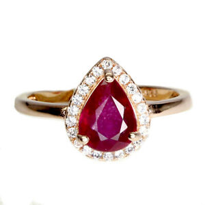 Pear Red Ruby 8x6mm Cz 14K Rose Gold Plate 925 Sterling Silver Ring Size 8.5