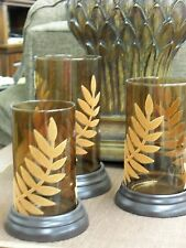 Set of 3 Candle holders- Amber glass with embossed leaves fall candle holder NEW