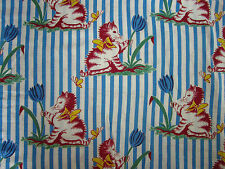 Vtg Cotton Fabric Cute Kittens Yellow Bow and Butterfly Blue Tulip Stripes 36x54