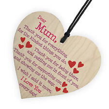 New Mum I Love You Everyday Wood Hanging Heart Plaque Mother Day Gift Love Sign