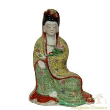 Chinese Antique Famille-Rose Porcelain Kwan Yin Statuary 20X21A