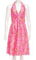 Lilly Pulitzer Pink Floral Halter Saddie Silk Dress Women's Spring Size 8