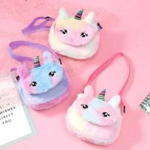 New Rainbow Unicorn Plush Shoulder Bag Crossbody Purse Wallet Handbag Girls New